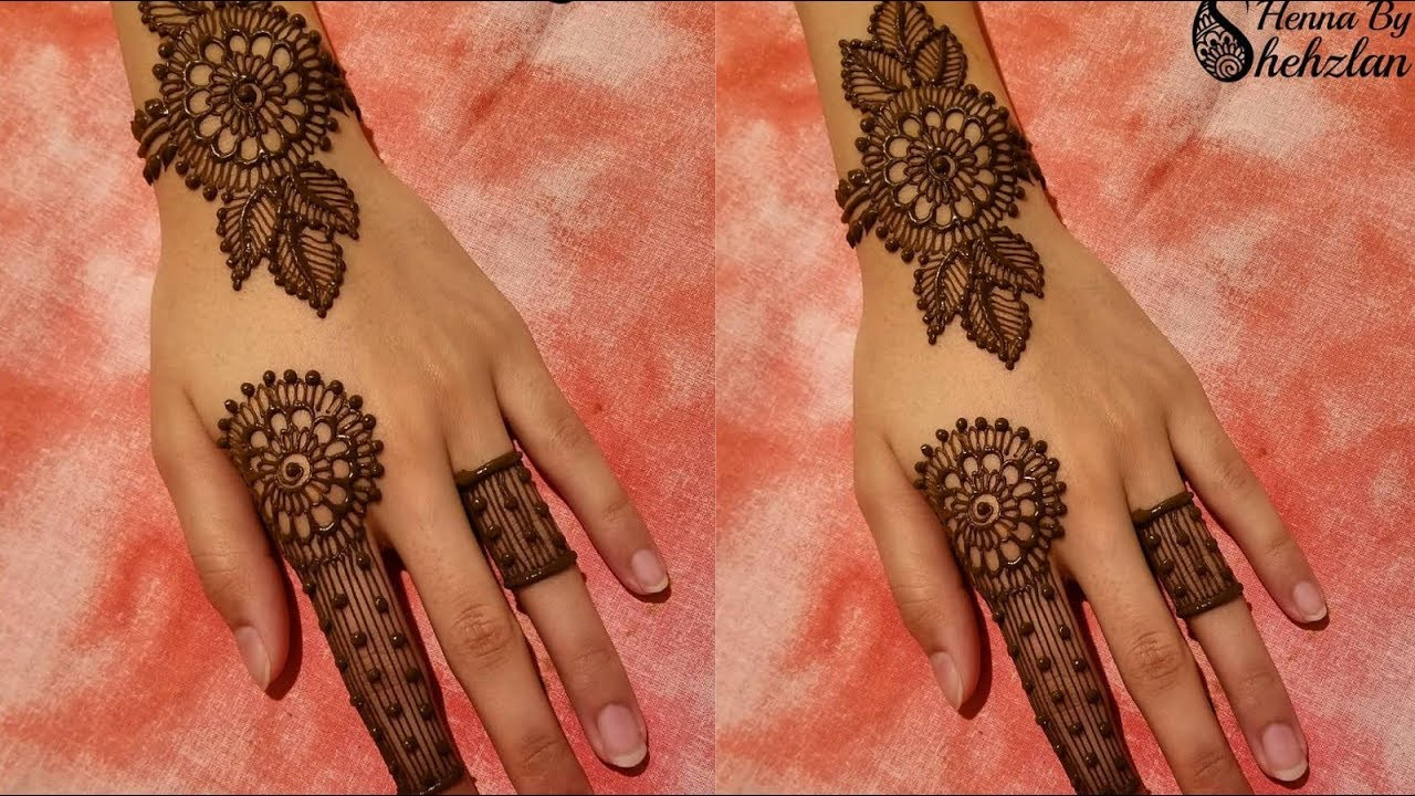 stylish one finger jewellery mehndi design
