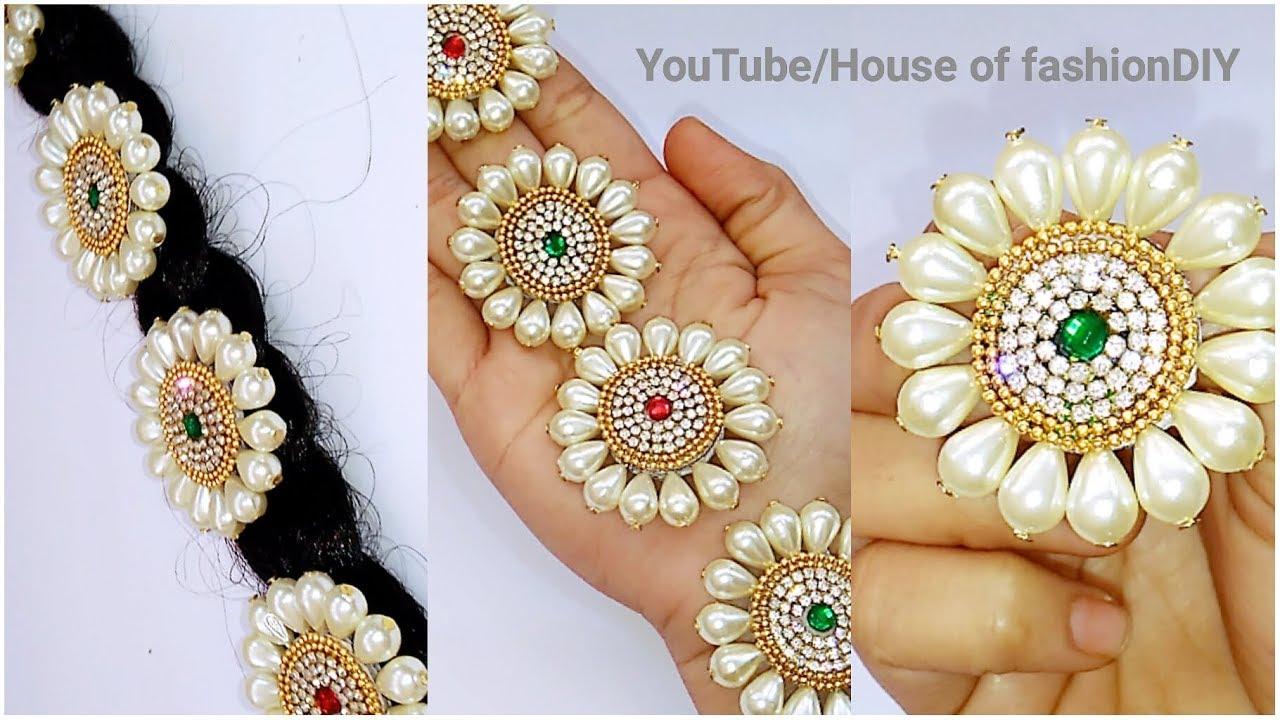 How To Make Bridal Hair Accessories Using Pearls//Jada Billalu At Home..!
