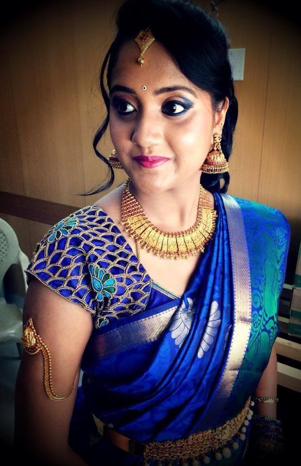 Royal Blue Saree with Cut Work Blouse