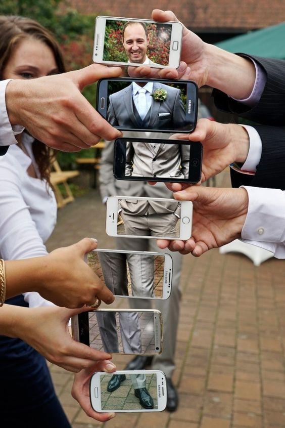 Groom photo in multiple phones