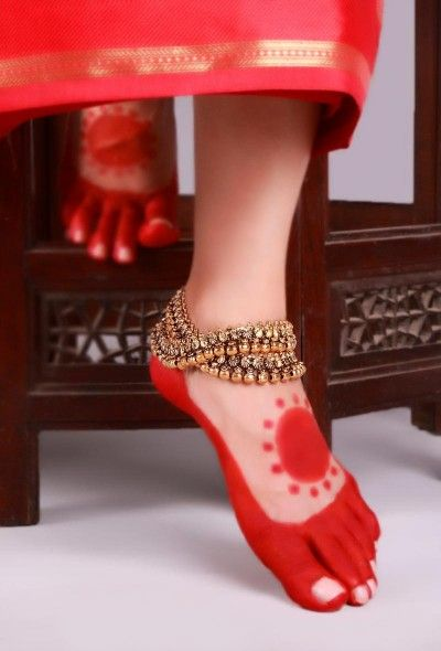 Double line Metallic Gold Anklet