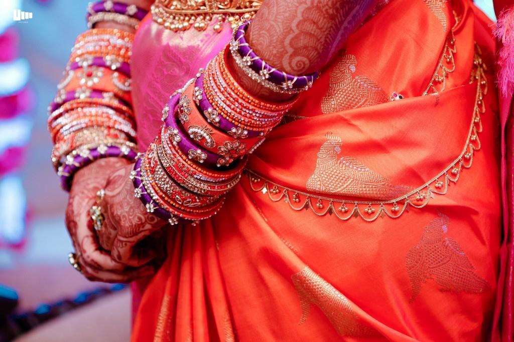 Orange with Violet silk thread Bangle