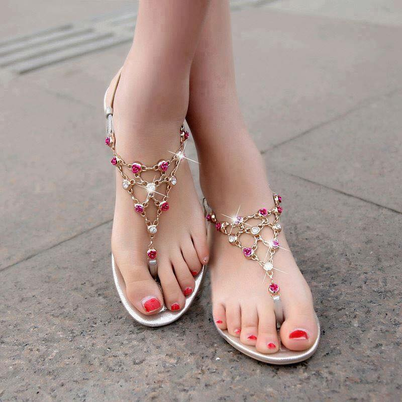 Rose flower With Stone Bridal Flats