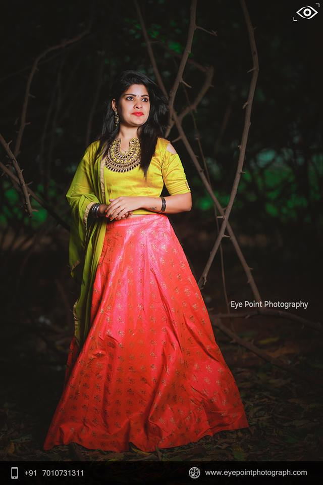 Cute Yellow with Pink Lehnga