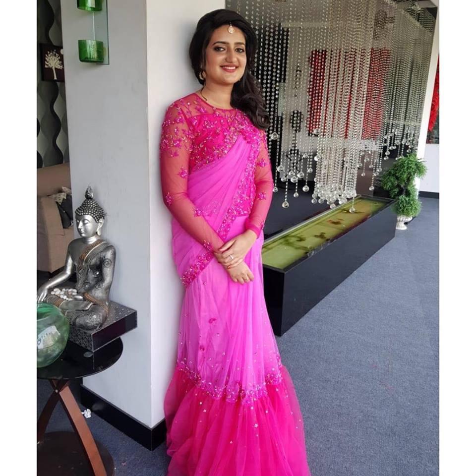 Pink designer saree gown