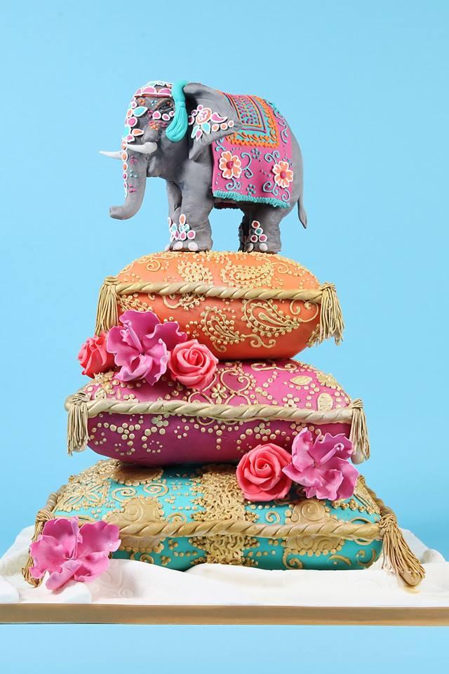 Colorful Three tier Elephant Wedding Cake