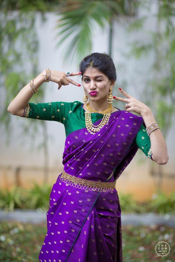 Dark Violet and Green Kanchi saree