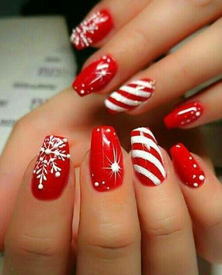 Dazzling red nail art