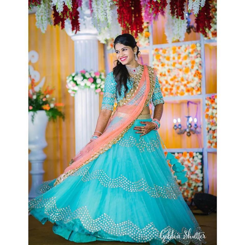 Glittering Blue pink Lehnga