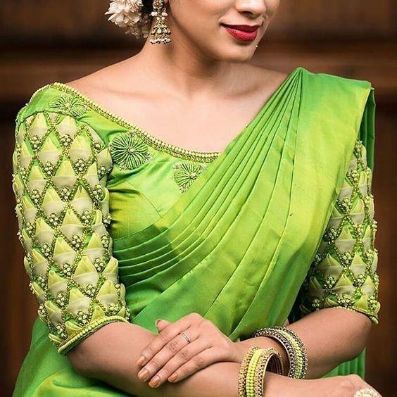 da12d1bf6c2bc Green Silksaree Blouse with half sleeves