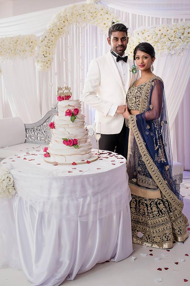two rose wedding cake