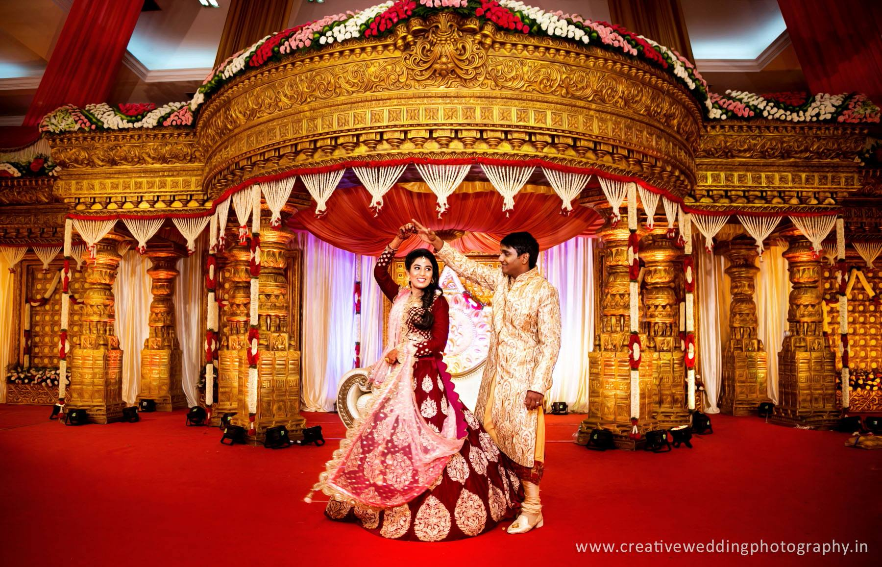 Red Lehenga with Netted Shall