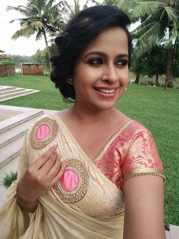 Beidge with pink designer saree