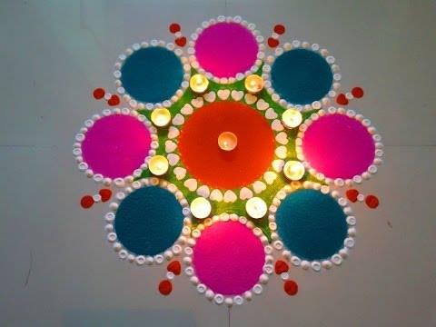 Heart and round rangoli design