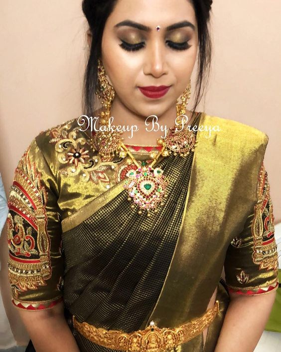 traditional Bridal silksaree with grand blouse