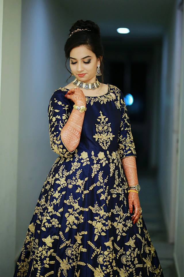 Royal Blue with Gold thread work gown