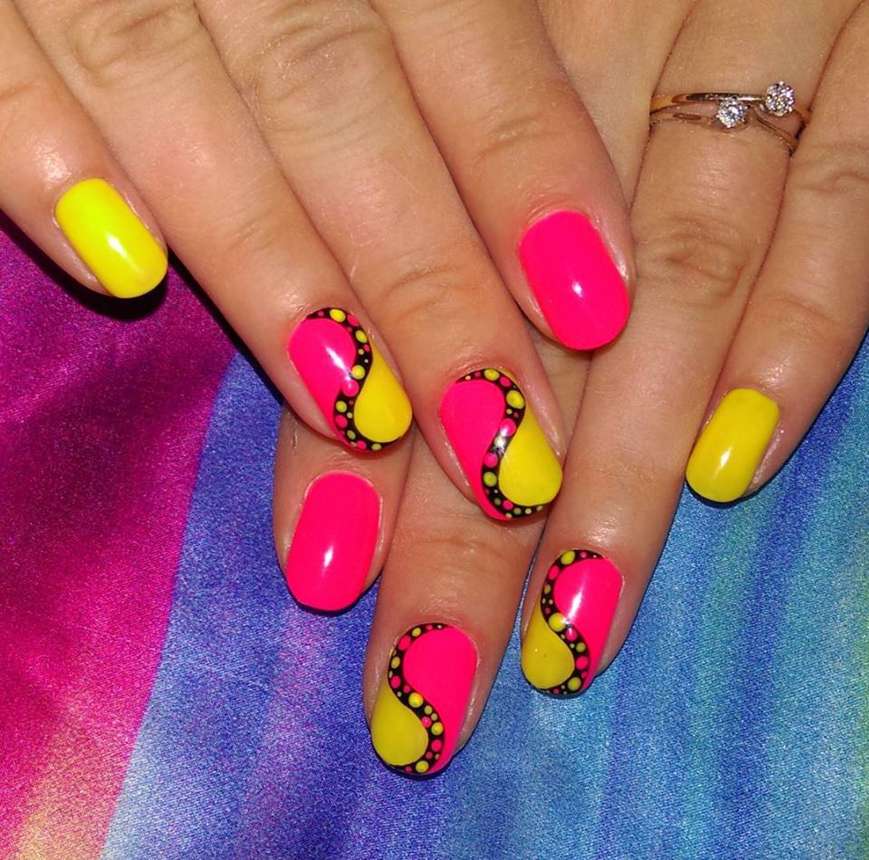 Yellow with pink nail art