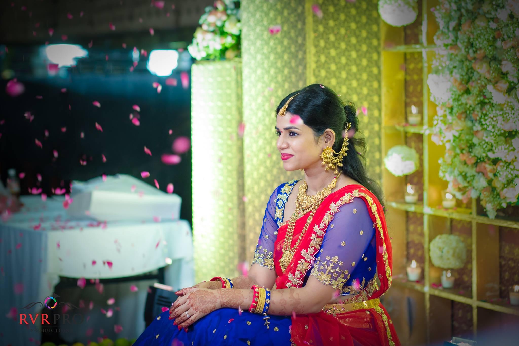 Red with Royal Blue Designer saree
