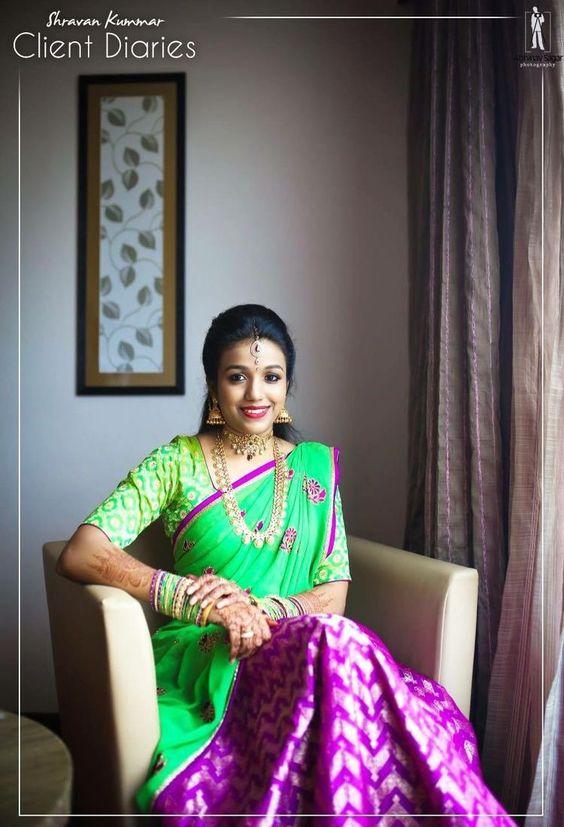 Green with violet Half Saree