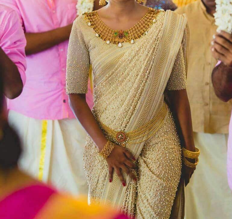 Cute Pearl Designer Saree