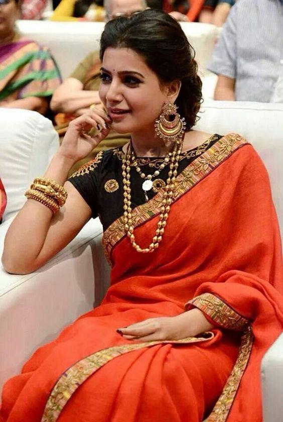 b354e2e47e9658 Orange Designer saree with black blouse | Photo Gallery ...