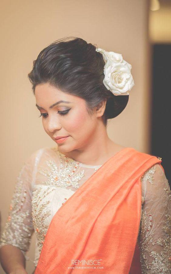 Plain orange saree with designer blouse