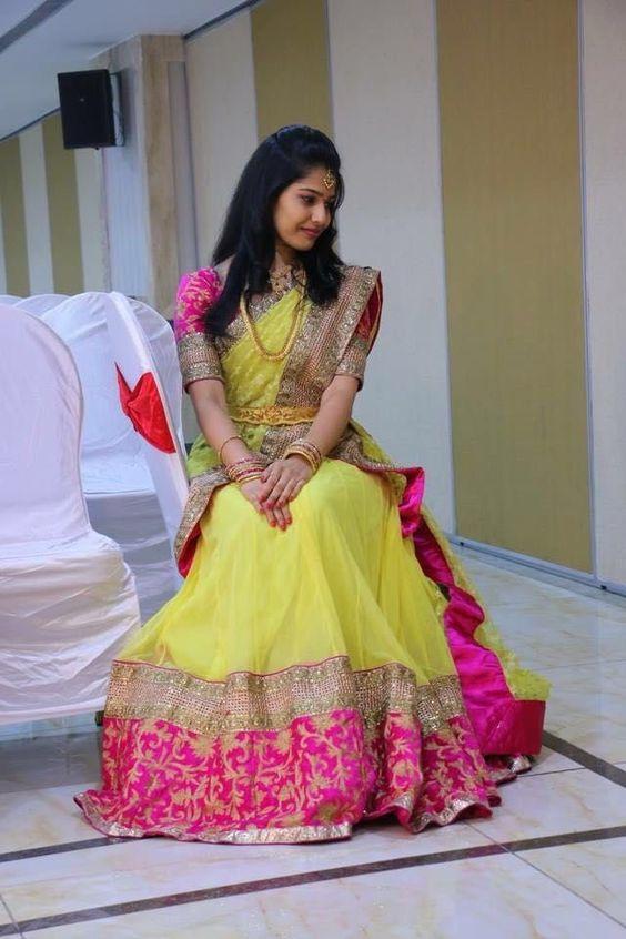 Yellow with Pink Border designer saree