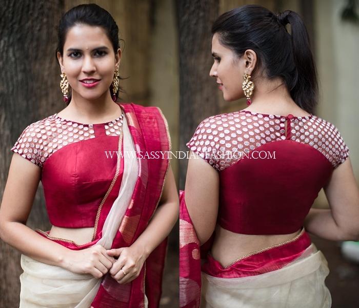 Marron net designer blouse