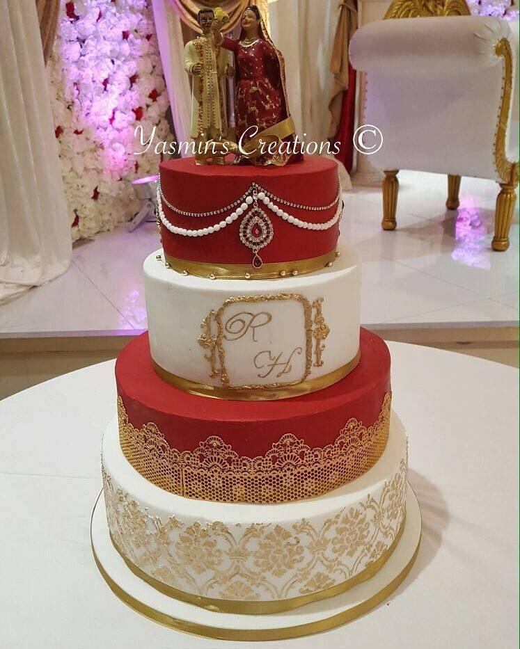 Antique Chain work Wedding Couple cake