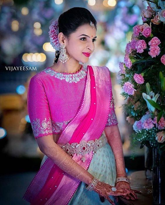Pretty pink designer saree