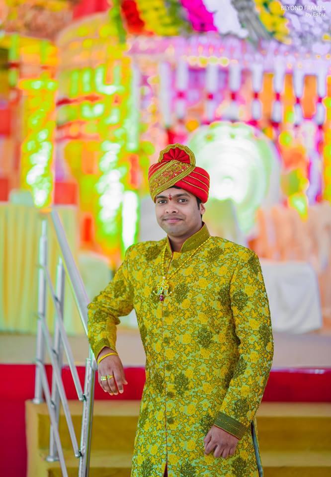 Green Sherwani with sandal turban