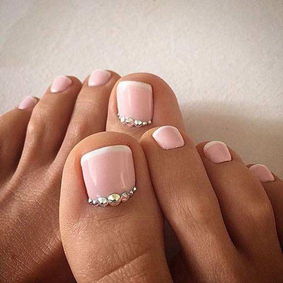 Elegant Stone Nail Art for Toe