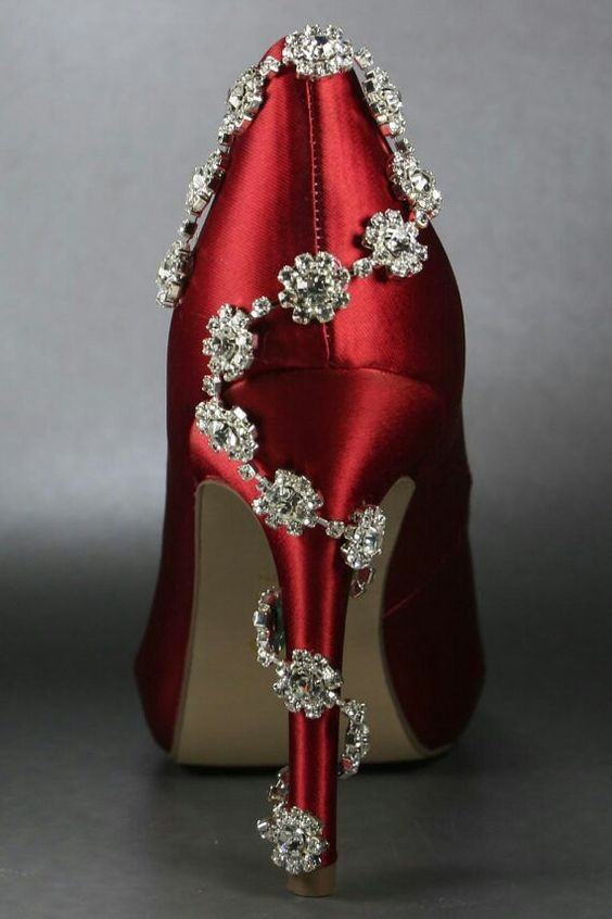 Red heel with spiral stone design