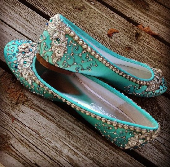 Silver Pearl work in Bridal Shoe