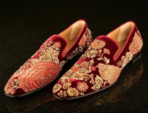 Maroon Embroidery work Groom Shoe