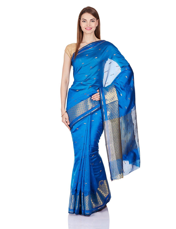 Blue Faux Banarasi Silk Saree